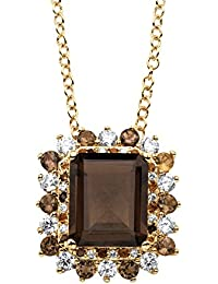 """Emerald-Cut Genuine Smoky Topaz and CZ 14k Gold-Plated Halo Pendant Necklace 18"""""""