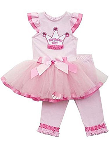 Rare Editons Baby-Girls Pink Fuchsia Crown Mesh Tutu Birthday Set 2T (4/4T)