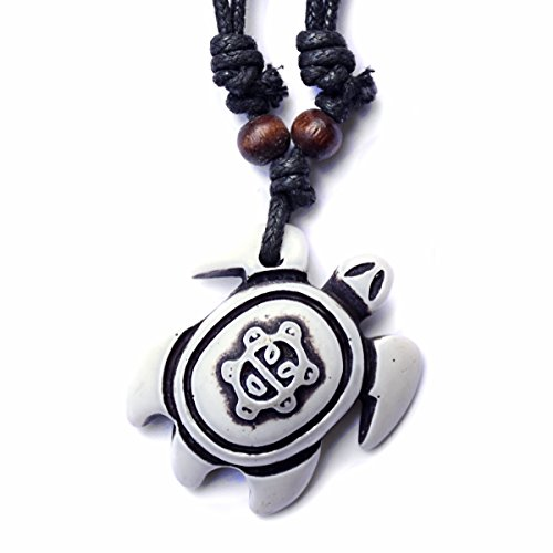 Honu Turtle Pendant Necklace - Tiki Good Luck Charm Jewelry - Adjustable Cord (Taino Sun)