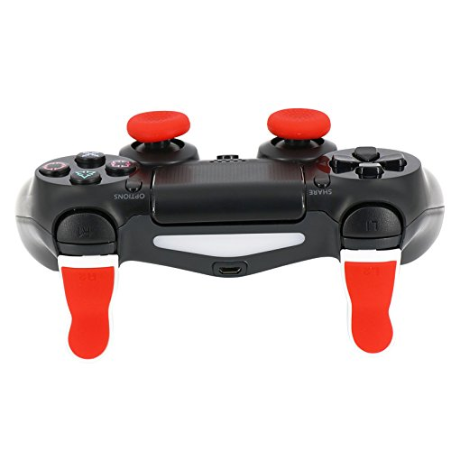 Trigger Extenders for PS4 Controller, Thumb Grips for PS4 Controller, Perfectmall Trigger R2+L2 Trigger Extenders for PS4 Controller Dual Triggers Attachments for Dualshock 4 PS4 Control (Red)