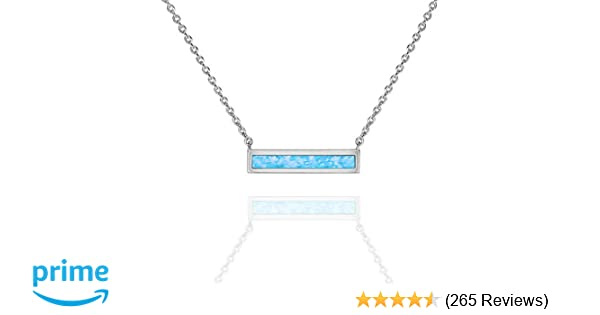 0f2a4f13b65 Amazon.com: PAVOI 14K White Gold Plated Thin Bar Light Blue Created Opal  Necklace 16-18