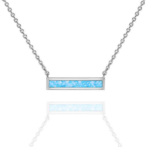 - PAVOI 14K White Gold Plated Thin Bar Light Blue Created Opal Necklace 16-18