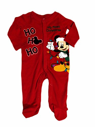 Mickey Mouse My 1st Christmas HO HO Sleeper Footie Boys Red 3 Months (Christmas First Sleeper)