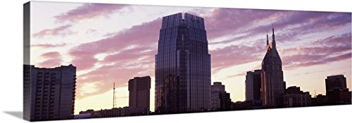pinnacle-at-symphony-place-and-bellsouth-building-at-sunset-nashville-tennessee-gallery-wrapped-canv