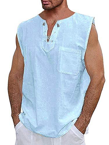 (Runcati Mens Cotton T Shirt Casual Beach Vest Hippie V Neck Yoga Tees Drawstring Tank Tops Blue)