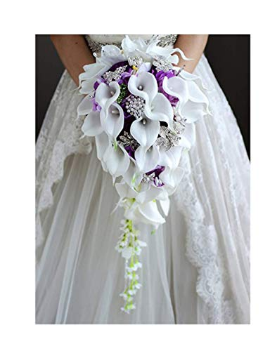 Waterfall Red Wedding Flowers Bridal Bouquets Artificial Pearls Crystal Wedding Bouquets Bouquet De Mariage Rose,Purple