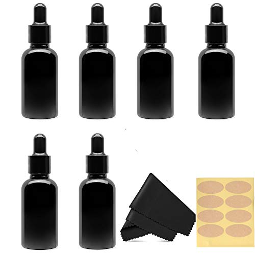 30 Ml (1 fl oz) Black Glass Essential Oil Bottles with Eye Droppers, 6 Pack