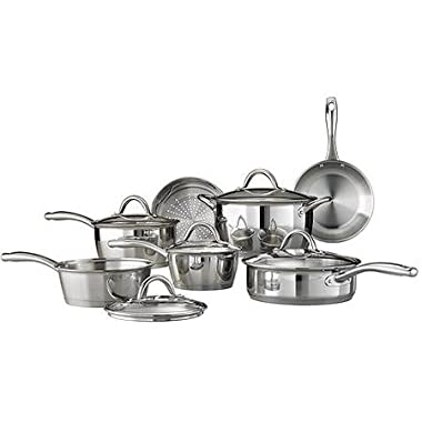 Tramontina 12-Piece Gourmet Tri-Ply Base Cookware Set, Stainless Steel