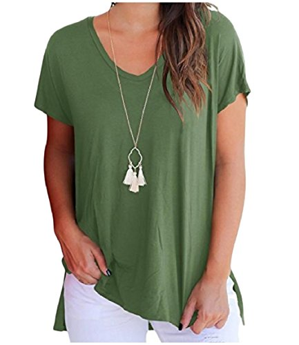 Army Short Women O Color Howme Solid Neck Match All Blouses Green Sleeve Tops qXSXwPg1