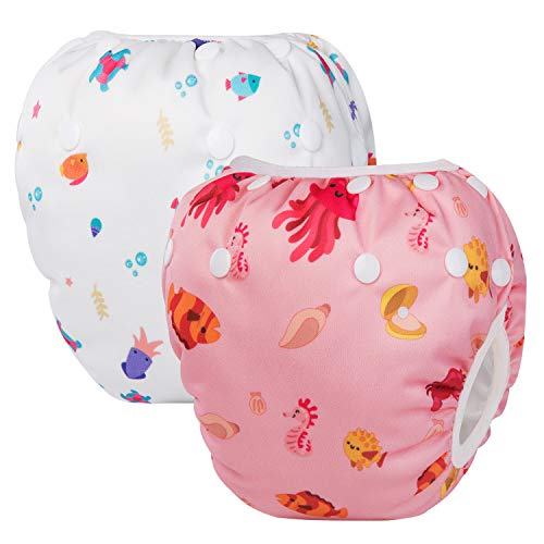 UBBCARE Reusable Swim Diaper Adjustable Baby Swim Diapers for Babies 0-2 Years 2pcs Baby Shower Gifts & Swimming Lessons Pink and White