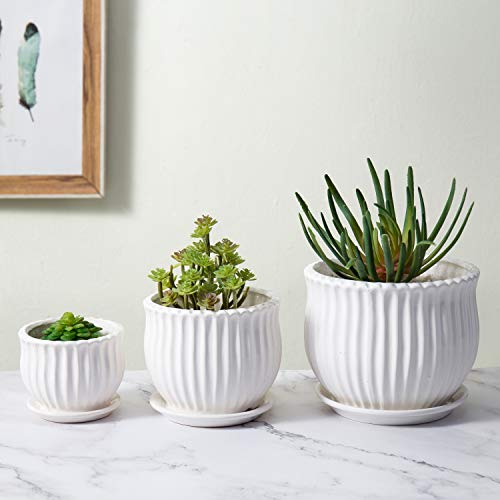 MyGift Small to Medium Modern Fluted Ribbed Texture White Round Ceramic Flower Planter Pots with Saucers, Set of 3