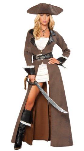 Roma Pirate Costume (Roma Costume Deluxe 4 Piece Pirate Captain Costume, Distressed Brown,)