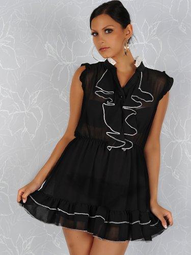 De chifón de negro para el cuello volantes de color blanco mini blusa de volantes club e instrucciones para hacer vestidos con pantalla plisada
