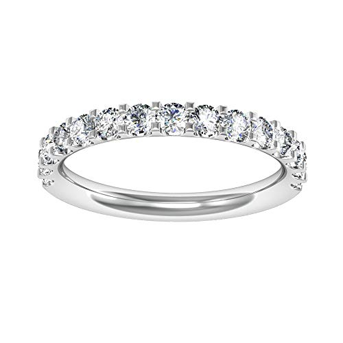 Wishbone Gold Rings (MOJ 9ct Real White GOLD 0.40ct Create DIAMOND Half Pave Eternity Wedding Band Ring)