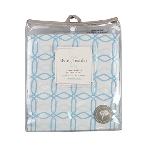 - Living Textiles Cotton Poplin Fitted Sheet - Blue Links - 100% Cotton Sheet, Fully Elasticized with Extra Deep Corners for Secure Fit, Gentle On Baby Skin