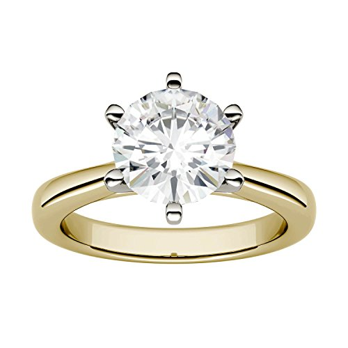 (Yellow Gold 8.0mm Moissanite by Charles & Colvard Solitaire Engagement Ring-size 6, 1.90cttw DEW)