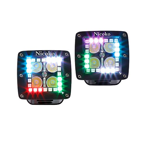 Nicoko 3 Inch Led work light with Chasing RGB halo ring for 10 Solid Color Changing with Strobe Flashing over 72 Modes Spotlights IP68 waterproof Free wiring harness 1 year warranty