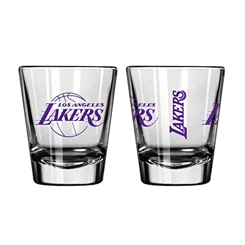 (Official Fan Shop Authentic NBA Logo 2 oz. Shot Glasses 2-Pack Bundle. Show your Basketball Team Pride at home, your Bar or at the Tailgate. (Los Angeles Lakers))