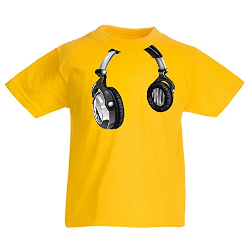lepni.me T Shirts For Kids For Music Lovers - DJ Gift, Retro Music, Electronics, Headphone Print (5-6 Years Yellow Multi Color)