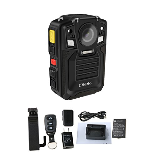 CEESC Police Security Body Worn Camera WV8 Portable Compact IR Night Vision with Remote Controller and Rechargeable Battery (Internal 16GB)