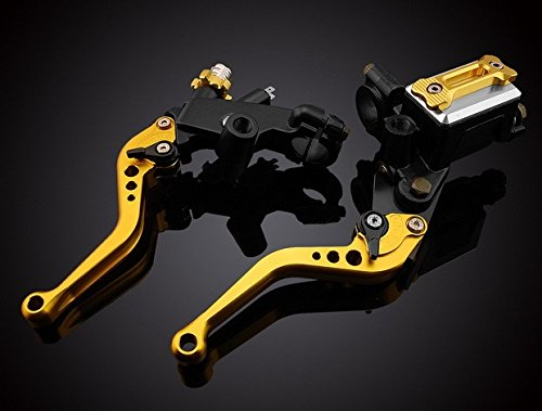 """Motorcycle Parts CNC Aluminium Adjustable Hydraulic Brake Master Cylinder & Cable Clutch Oil Reservoir Levers Kit Gold 7/8""""(22mm) Fit For 2008 2009 2010 2011 2012 KAWASAKI NINJA 250R"""