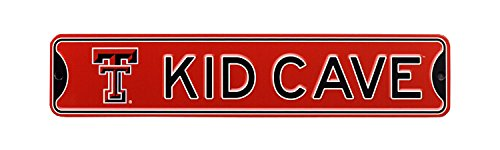 (Authentic Street Signs NCAA College Officially Licensed STEEL Kid Cave Sign-Decor for sports fan bed room! … (Texas Tech Red Raiders))