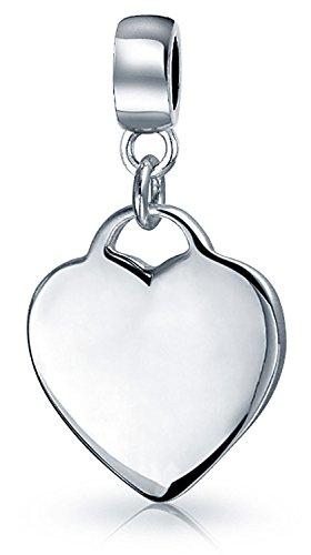 (Heart Shape Tag Charm Engravable Dangle Charm Bead For Women Girlfriend 925 Sterling Silver Fits European Bracelet)