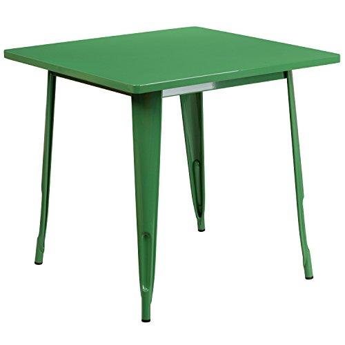 Flash Furniture 31.5'' Square Green Metal Indoor-Outdoor - Flash Retro