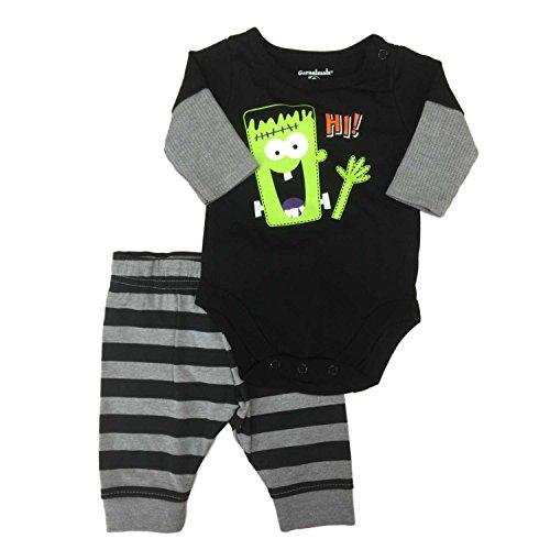 Frankenstein Outfit (Garanimals Infant Boy Halloween 2 Pc Outfit Frankenstein Bodysuit Pants Set 6-9m)