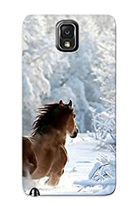 Galaxy Note 3 Hard Back With Bumper Silicone Gel Tpu Case Cover For Lover's Gift Nature Winter Snow Horses