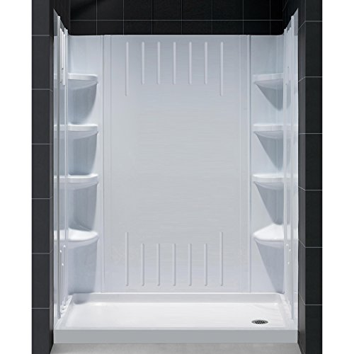Beau DreamLine DL 6145R 01 SlimLine 30 Inch By 60 Inch Single Threshold Shower  Base Right Hand Drain And QWALL 3 Shower Back Walls Kit