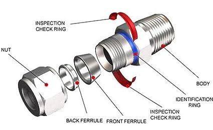 3//4 T x 3//4 T 316 SS Double Ferrule Superlok 90/º Union Elbow Tube Fitting Stainless Steel