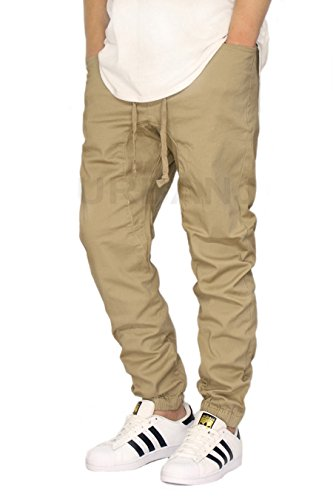 URBANJ MEN'S KHAKI TWILL DROP CROTCH JOGGER PANTS (L)