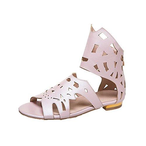Sandals Zipper Women Solid Heels VogueZone009 Pu Pink Low Toe Open 8PdZqqwx5