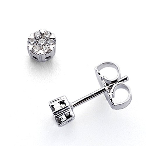 Boucled'oreille Or blanc 18 carats de diamants étincelants 0,15ct 14 [7346]