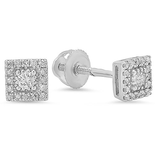 (Dazzlingrock Collection 0.15 Carat (ctw) 10K Round Cut White Diamond Ladies Square Frame Stud Earrings, White Gold)