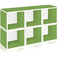 Way Basics Stackable Modular Storage Cubes, Green, 6-Pack