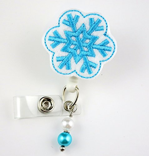 Christmas Snowflake - Nurse Badge Reel - Retractable ID Badge Holder - Nurse Badge - Badge Clip - Badge Reels - Pediatric - RN - Name Badge Holder