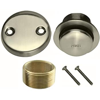 Brushed Nickel Toe Touch Conversion Kit Tub Drain Solid