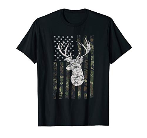 Camouflage American Flag Deer Hunting T-shirt