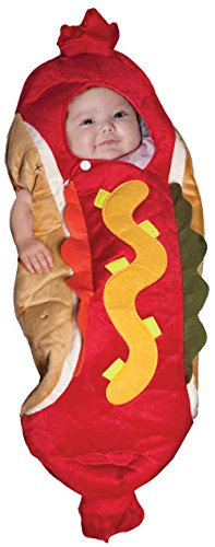 [UHC Baby's Lil Hot Dog Plush Bunting Outfit Infant Halloween Costume, 0-6M] (Hot Dog Baby Costumes)
