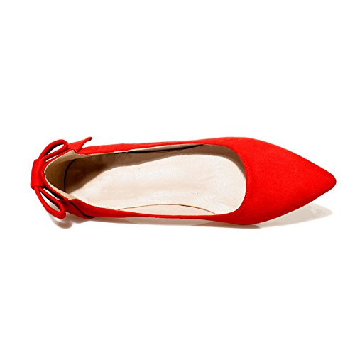 Balamasa Girls Tomaia Low-cut Tacchi Bassi Spun Gold Bowknot Pumps-shoes Glassato Rosso