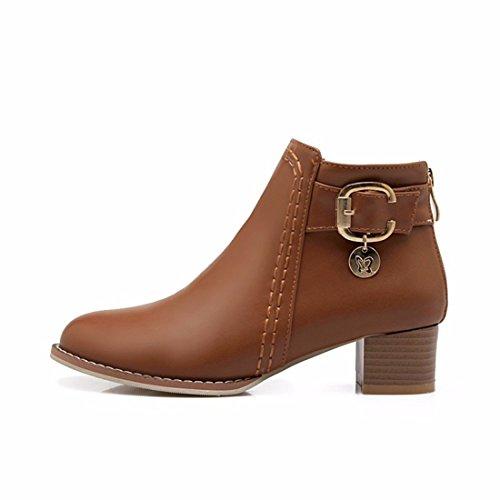 En el otoño y el invierno lady cinturón con botas botas tamaño brown