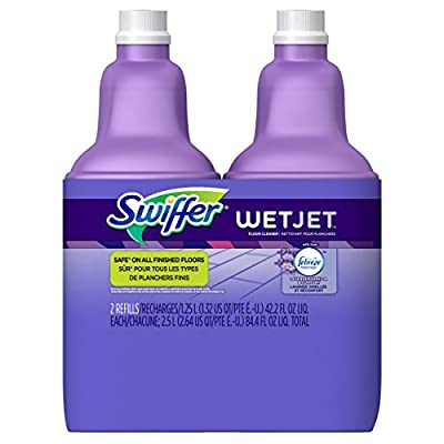 Swiffer WetJet Multi-Purpose Floor and Hardwood Cleaner Solution with Febreze Refill, Lavender Vanilla and Comfort Scent, 1.25 Liter (2 Pack)
