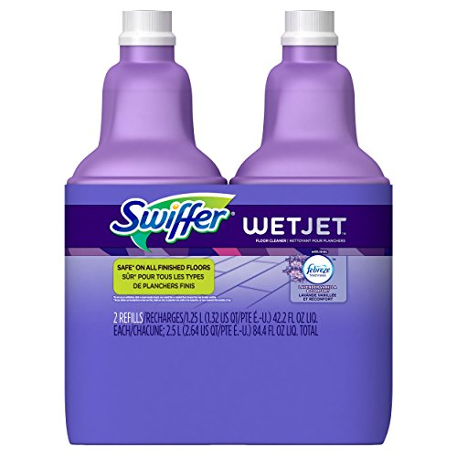 Swiffer WetJet Multi-Purpose Floor and Hardwood Cleaner Solution with Febreze Refill, Lavender Vanilla and Comfort Scent, 1.25 Liter (2 Pack)