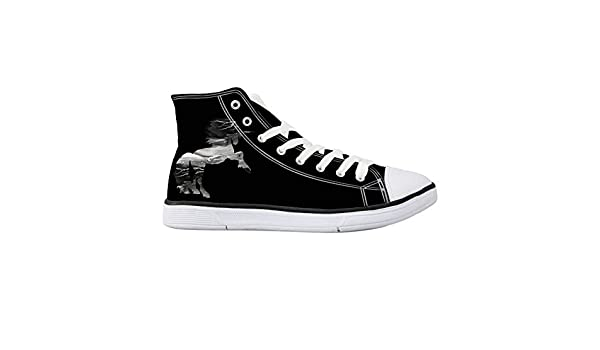 Shenigon Cartoon Music Canvas Shoes High Top Casual Black Sneakers Unisex Style