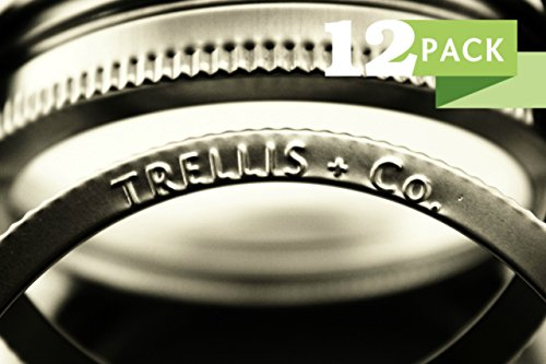 T&Co. STAMPED 316 Stainless Wide Mouth Mason Jar Rings/Bands/Tops - Durable & Rustproof - Set of 12 - For gifts, canning, storage