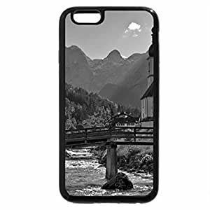 iPhone 6S Case, iPhone 6 Case (Black & White) - beautiful village on an alpine meadow