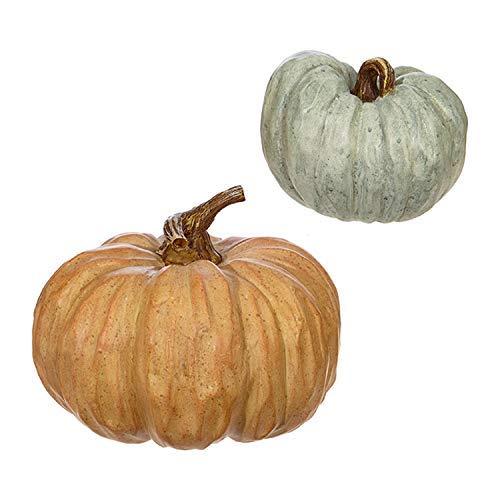Orange and Green Wood Carved Look Resin Pumpkins Assorted Set of 2 ()