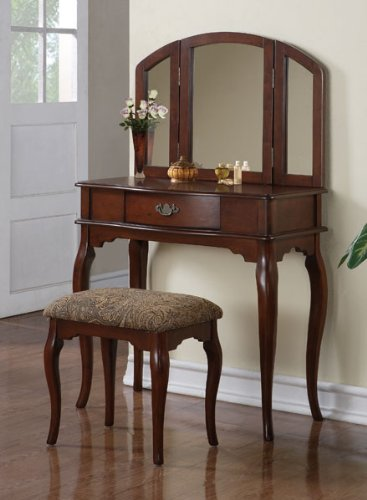 (HP Queen Anne Style Cherry Finish Wood Vanity Set #Pd41066 )